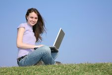 Free Girl With Notebook On Meadow Stock Image - 2208901