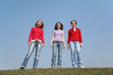 Free Girls Stand On Meadow Stock Image - 2209371