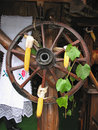 Free Antique Wooden Cart Wheel Decorated Stock Photo - 22008810