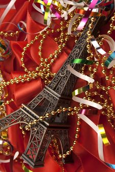 Free Christmas Card With Tour D Eiffel Royalty Free Stock Photos - 22000438