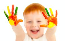 Free Red-haired Boy With Focused Painted Hands Stock Images - 22001224