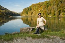 Free Beautiful Asian At The River Stock Photo - 22002100