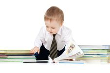 Free Baby Boy With Books Over White Royalty Free Stock Image - 22002966