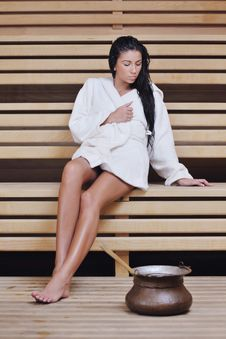Free Young Woman Take A Steam Bath Royalty Free Stock Images - 22004009
