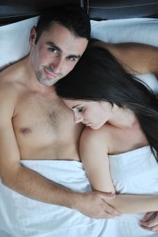 Free Young Couple Have Good Time In Their Bedroom Royalty Free Stock Photography - 22004167