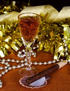 Crystal Glass With Brandy, Cigars Stock Photos