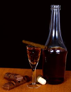 Bottle Of Cognac And A Glass Of Crystal Stock Photography