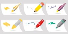 Free Drawing Accessories Vector Set Royalty Free Stock Images - 22006539