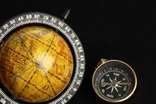 Free Globe And A Compass Royalty Free Stock Photography - 22008007
