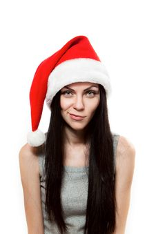 Free Young Girl In Santa Clause Hat Stock Image - 22008301