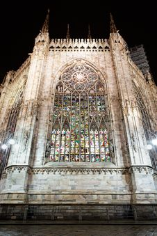 Illuminated Stained Glass Windows, Milan Stock Image