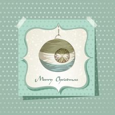 Christmas Card / With Christmas Ball Stock Photo