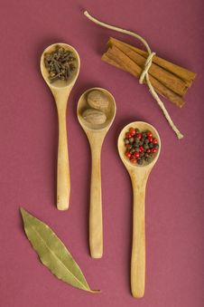 Free Teaspoons With Spices Royalty Free Stock Photo - 22009865