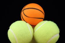 Free Basketball On Tenis Balls Stock Photography - 22009922