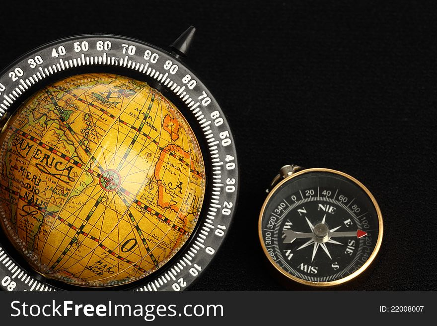 Globe and a compass