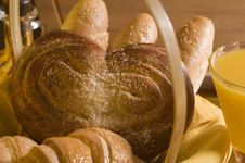 Free Bread Food In A Basket Stock Photography - 22010252