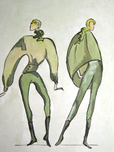 Hand-drawn Sketch Of A Fashion Stock Images