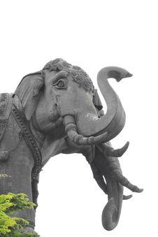 Three Headed Elephant Statue. Royalty Free Stock Photos