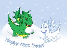 Free Card Happy New Year With Dragons And Snow Stock Images - 22013504