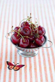 Free Fresh Cherries In Metal Colander Royalty Free Stock Image - 22016696