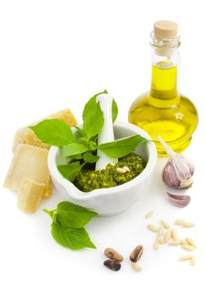 Free Fresh Italian Pesto And Its Ingredients Stock Images - 22017864