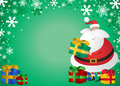 Free Cute Santa With Gifts On Green Background Royalty Free Stock Image - 22022006