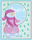 Free Christmas Card With Snowman Stock Photography - 22027082