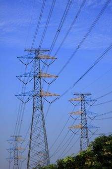Power Line On Steel Tower Against Blue Sky Royalty Free Stock Photo