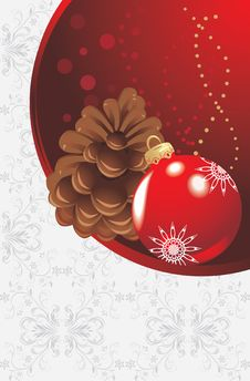 Free Red Christmas Ball And Pinecone Stock Image - 22024581