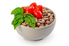Beans, Tomatoes And Basil Stock Images
