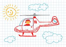 Free Drawing Of Helicopter Royalty Free Stock Photography - 22028687