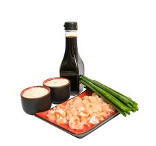 Tasty Salmon, Rice, Green Leek Ans Soya Sauce Stock Images