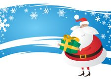 Free Cute Santa With Gift On A Wavy Festive Blue Backgr Royalty Free Stock Images - 22029669
