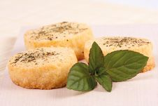 Free Cheese Biscuits With Mint Stock Image - 22032981