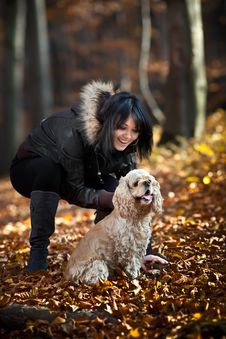Girl And Cocker Spaniel Stock Images