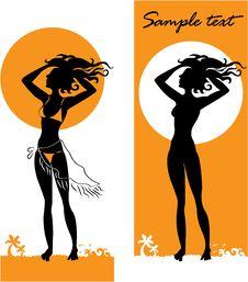 Free Dark-skinned Girl Standing On The Beach Stock Photography - 22039002