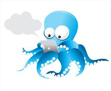 Free Vector Octopus With Tablet Royalty Free Stock Photo - 22040055
