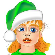 Free Vector Portrait Of A Christmas Elf Closeup Stock Images - 22042534