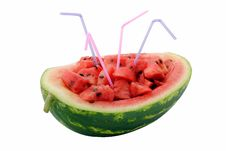 Water Melon With Straws Stock Photos