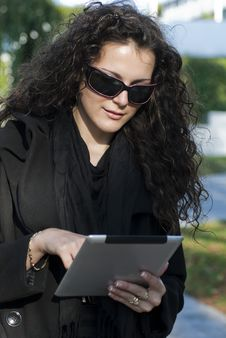 Young Woman And  Tablet Pc Stock Photos