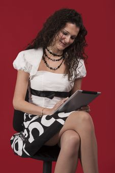 Free Businesswoman Working On Tablet Pc Royalty Free Stock Image - 22045076