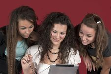 Free Three Young Girls With Tablet Pc Stock Image - 22045101