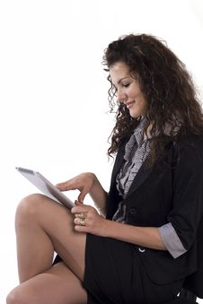 Happy Woman With Tablet Pc Stock Photos