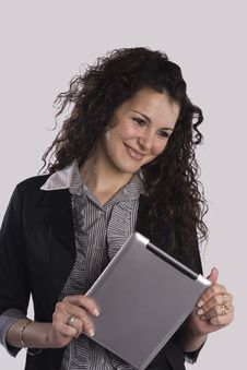 Woman And Tablet Pc Royalty Free Stock Images