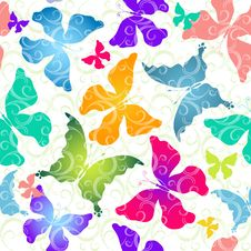 Free Colorful Butterflies. Seamless Pattern Stock Photos - 22045323