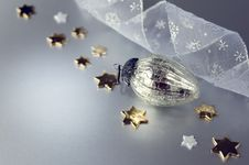 Decorations For Christmas On A Silver Background Stock Image