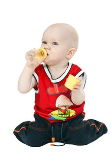 Little Boy With A Pacifier, Bottle Stock Photo