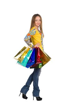 Free Girl On Shopping With Parcels Isolated On White Stock Images - 22054734