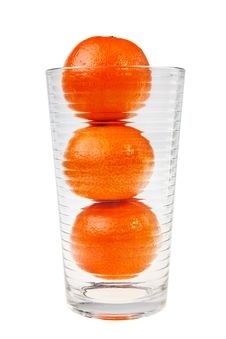 Free Three Mandarin Fruits Stacked In Glass. Stock Photography - 22055672