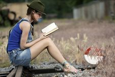 Free Beautifully Young Women Reading Royalty Free Stock Image - 22057796